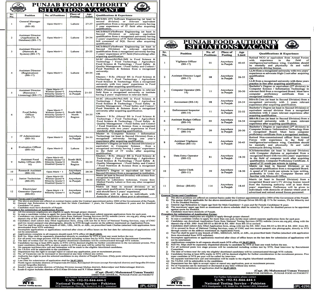 Punjab Food Authority Jobs 2019 - ( 300 Positions ) Latest New Jobs