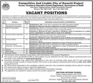 Excise Taxation & Narcotics Control Department Sindh Jobs June 2020