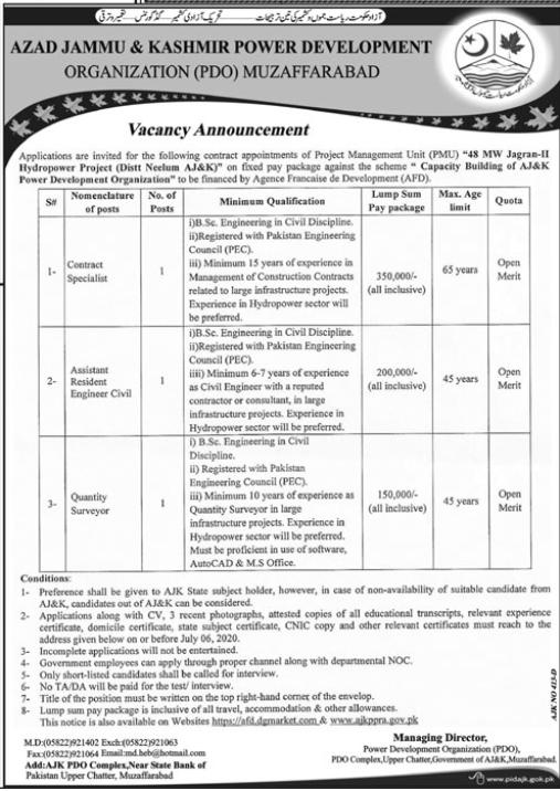 AJK Power Development Organization (PDO) Jobs Muzaffarabad 2020