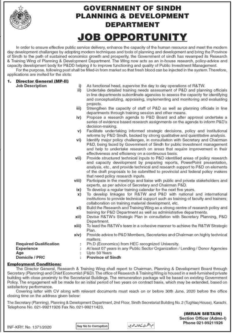 Planning and Development Department Sindh Jobs 2020 Latest