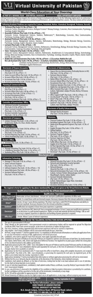 Virtual University Jobs August 2020