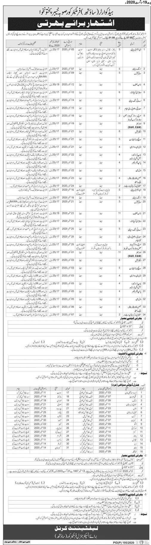 Job Vacancies: Sr.No	Name of Post	Qualification 01.	EME Sipahi	Metric 02.	Nursing Sipahi	Intermediate 03.	Soldier Clerk	Intermediate 04.	Naib Khateeb	Intermediate 05.	Veterinary Compunder	Intermediate 06.	AT Cook Sipahi	Middle 07.	Misalchi, Dhobi etc	Middle 08.	Mochi etc	Middle 09.	Overseer	Metric 10.	Electrician	Metric 11.	Switch Board Attendant	Metric 12.	Line man Water man	Metric 13.	Pump Driver	Metric 14.	Pipe Fitter, Plumber	Middle 15.	Wall Man	Middle 16.	Mason / Carpenter	Middle 17.	Sanitary Worker	Middle How To Apply for Jobs in FC South: Candidates bring following original and attested documents at the time of interview Educational Certificates CNIC 4 colored Passport size Photographs Domicile Eligible candidates reach their center for registration from 07:00 AM – 01:00 PM. No TA/DA will be given. Children of martyred and retired person will bring discharge and selection certificate, to show their relation. The last date to apply is September 30, 2020. Eligibility Criteria Height:   5 feet 6 In Chest:     31 x 33 In Age:        17 to 25 (2 year relaxation for the children of Frontier Corps) Only Citizens of KPK are eligible