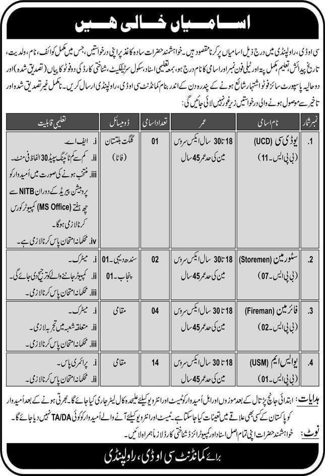 Pak Army Central Ordnance Depot Rawalpindi Civilian Jobs 2020