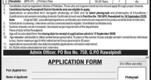Government Jobs in GPO Rawalpindi 2020 | P O Box No 750