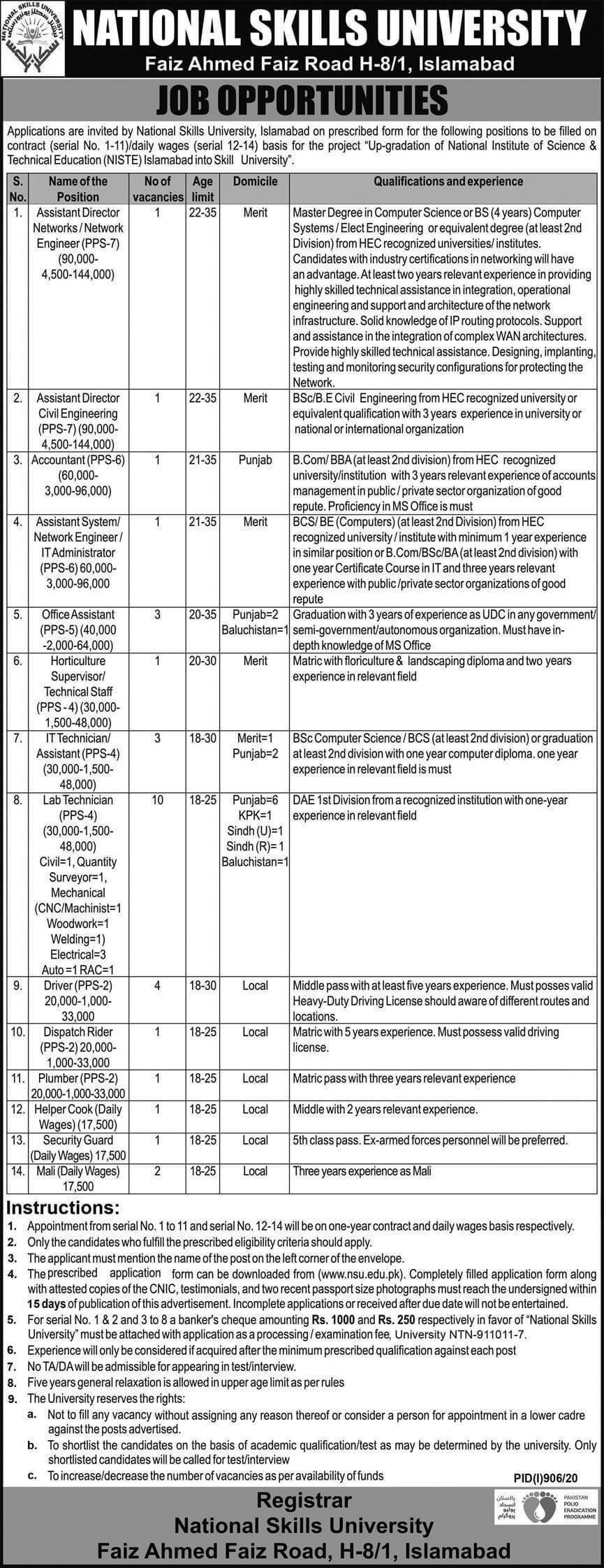 National Skills University Islamabad Jobs 2020 | Apply Online