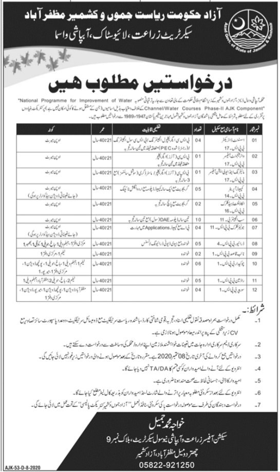 Agriculture Livestock and Irrigation Department AJK Jobs 2020
