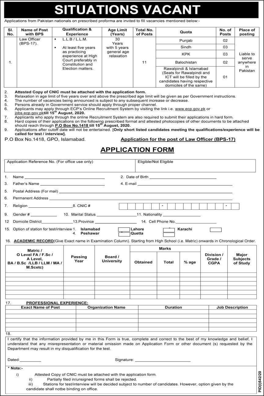 Election Commission of Pakistan ECP Jobs 2020