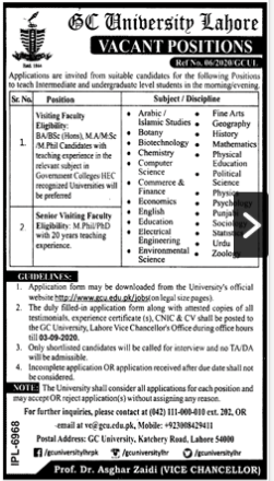 Government College GC University Jobs August 2020