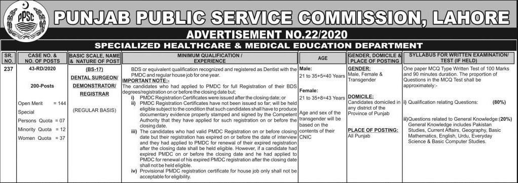 Dental Sargon PPSC Jobs (200 Posts) Advertisement 22/2020