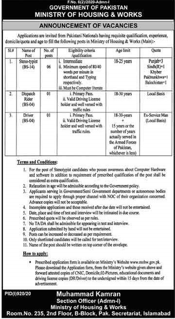 Ministry of Housing And Works Jobs 2020 Islamabad – Application