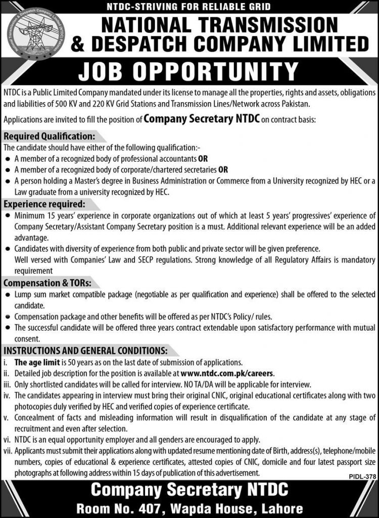 NTDC Jobs, National Transmission and Despatch Company