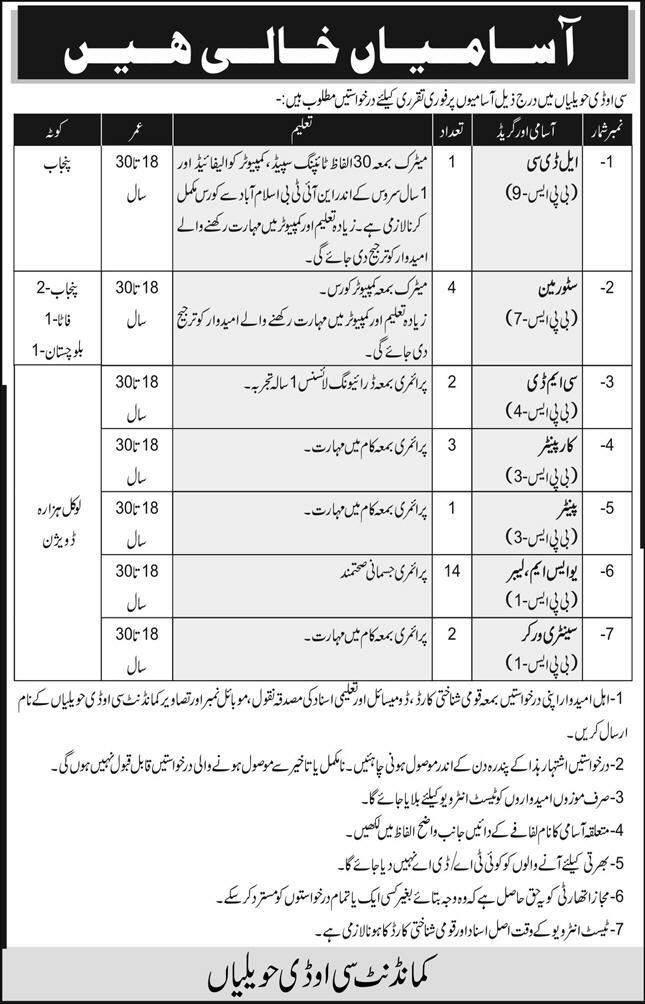 Pakistan Army Civilian COD Jobs