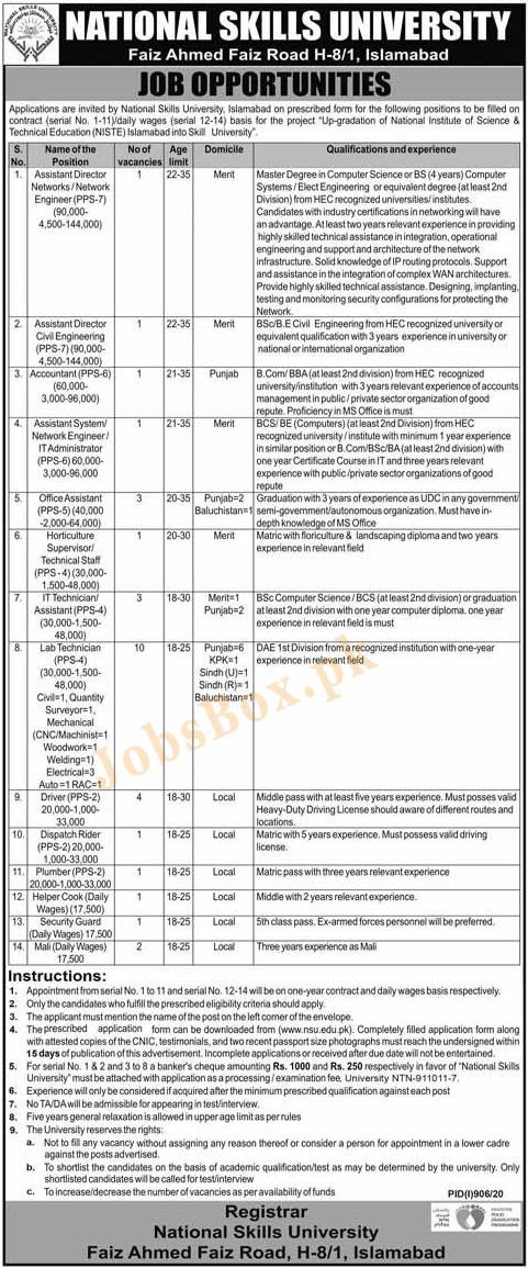 National Skills University Jobs 2020 in Islamabad
