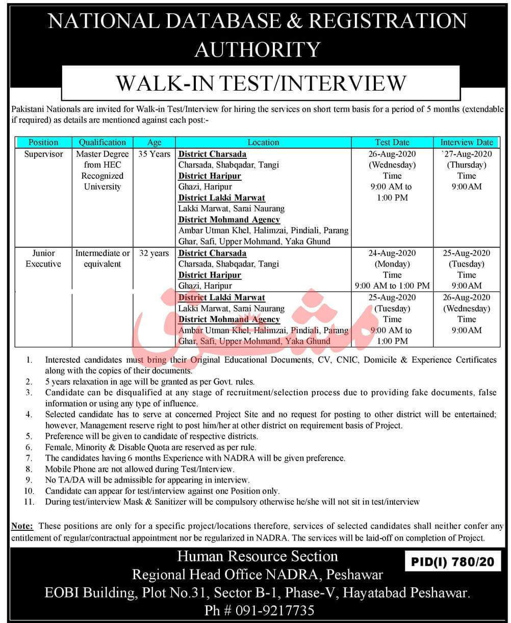 NADRA Peshawar Jobs August 2020