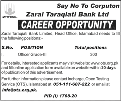 Zarai Taraqiati Bank Limited ZTBL Jobs October 2020
