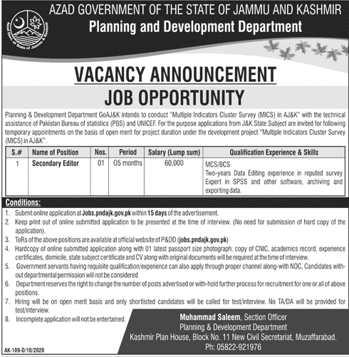 Planning And Development Department Jobs October 2020