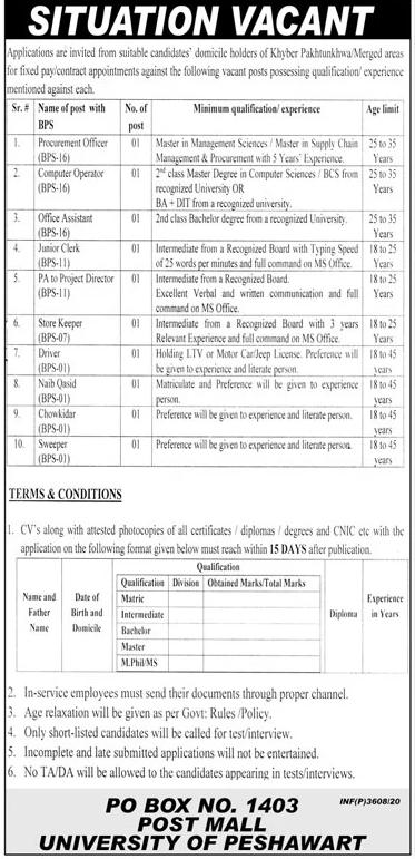 University Of Peshawar Jobs October 2020