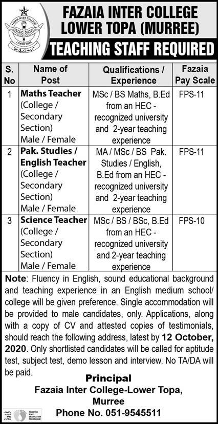 Fazaia Inter College Lower Topa Murree Jobs October 2020