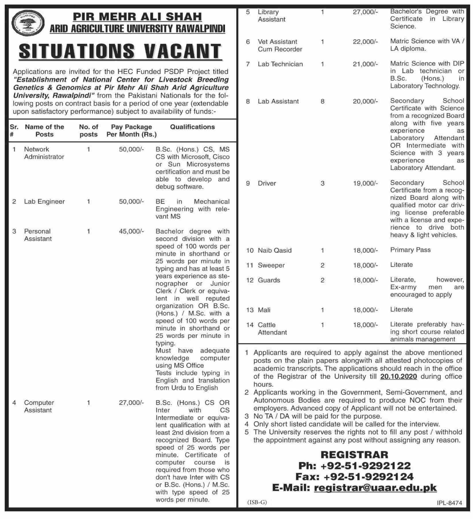 Arid Agriculture University Rawalpindi Jobs October 2020