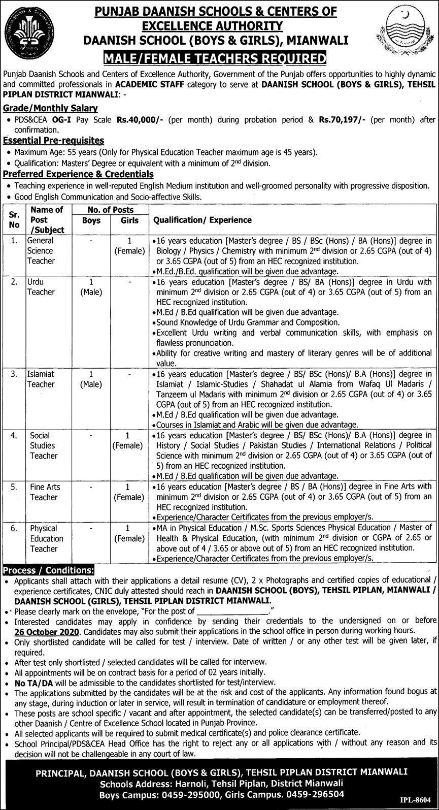 Punjab Daanish School Jobs October 2020