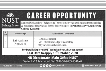 National University Of Science And Technology NUST Jobs October 2020