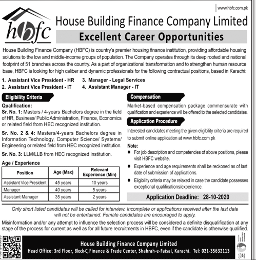 House Building Finance Company Limited HBFCL Jobs October 2020