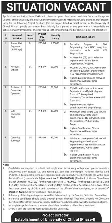 University of Chitral Jobs October 2020