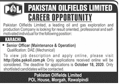 Pakistan Oilfields Limited Jobs October 2020
