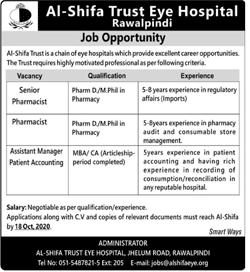 Al Shifa Eye Trust Hospital Jobs October 2020