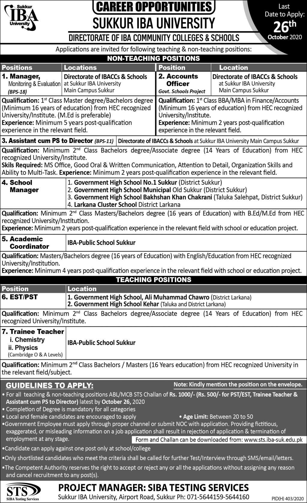 Sukkur IBA University Jobs October 2020