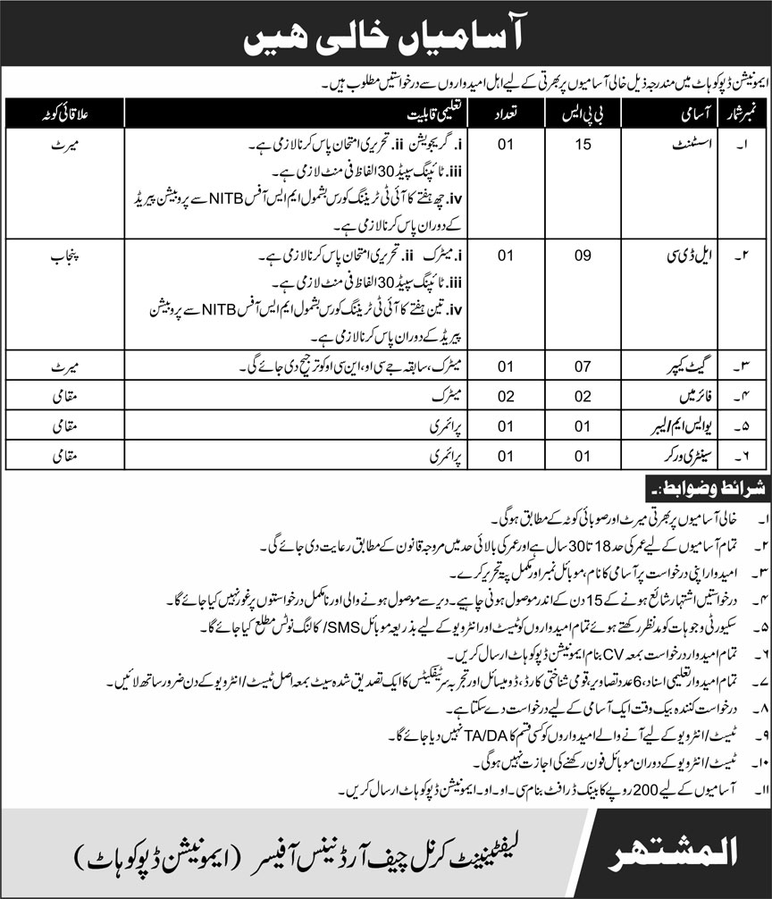 Pakistan Army Ammunition Depot Jobs October 2020