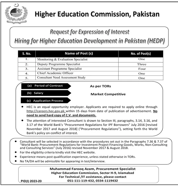 Higher Education Commission Pakistan Jobs October 2020