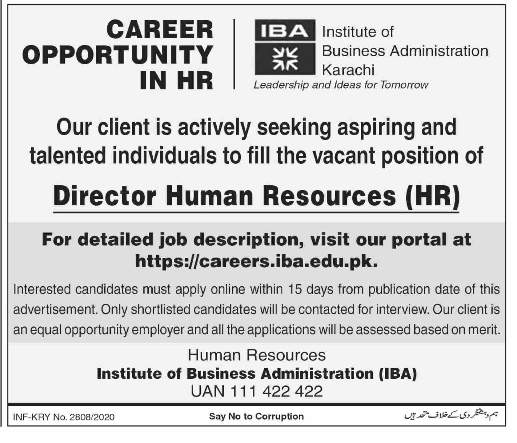 Institute Of Business Administration Jobs October 2020
