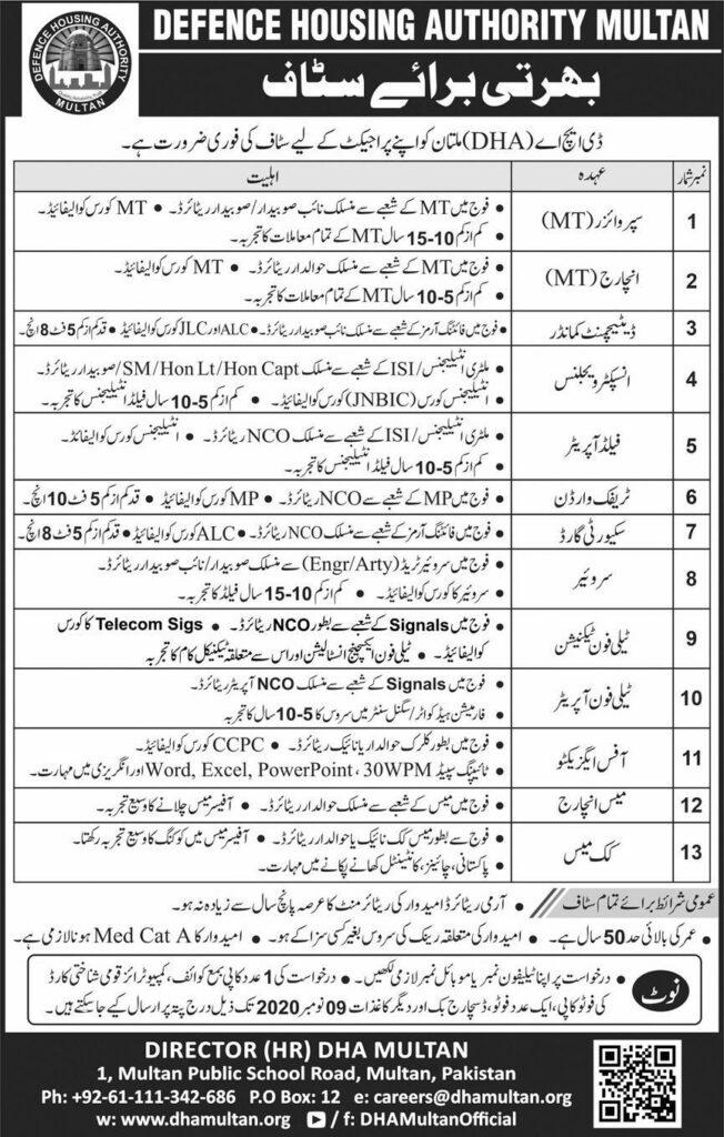 DHA Multan Jobs 2020
