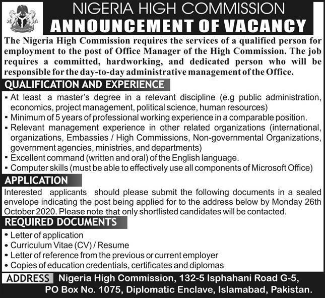 Nigeria High Commission Jobs 2020