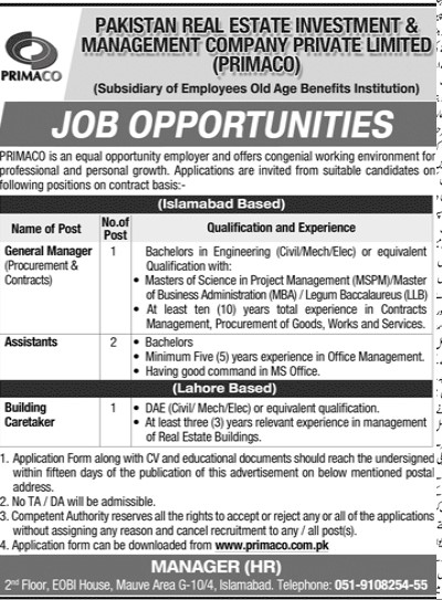 Pakistan Real Estate Investment & Management Company PRIMACO Jobs 2020