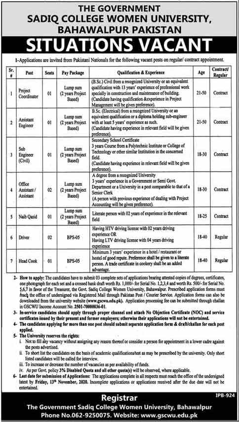 The Government Sadiq College Women University Jobs 2020