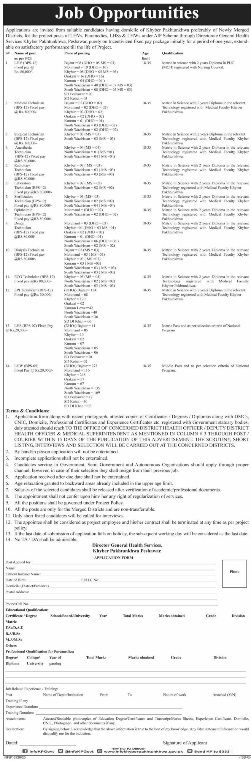 Directorate General Health Services Jobs 2020