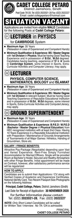 Cadet College Petaro Jobs 2020