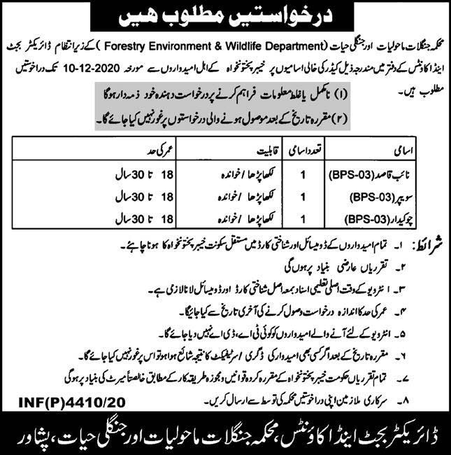Forestry Environment & Wildlife Department Jobs 2020