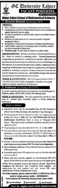 GC University Lahore Jobs 2020
