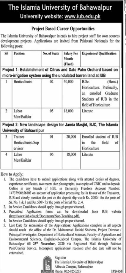 Islamia University of Bahawalpur IUB Jobs 2020