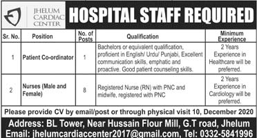 Jhelum Cardiac Centre Jobs 2020