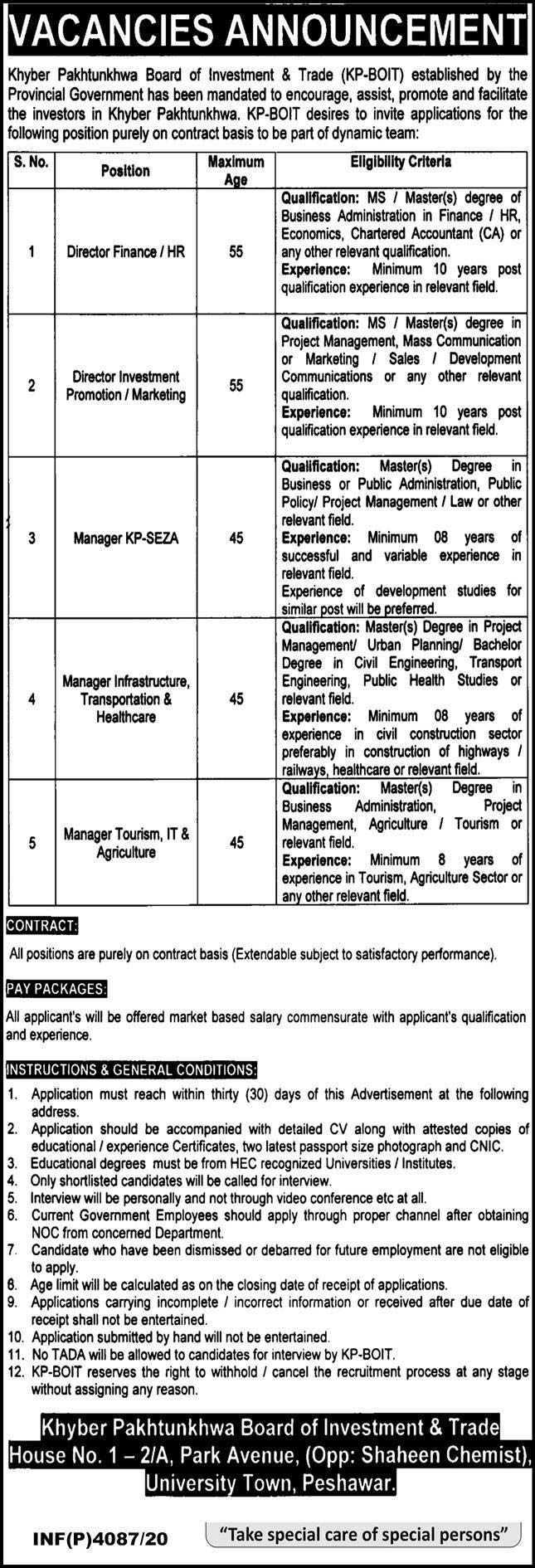 KPK Board of Investment & Trade Jobs 2020