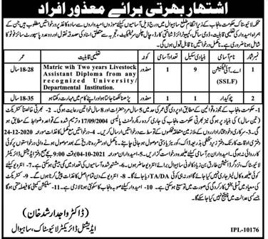 Livestock Department Punjab Jobs 2020