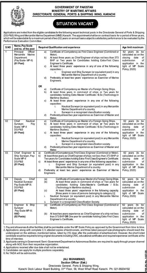 Ministry of Maritime Affairs Karachi Jobs 2020