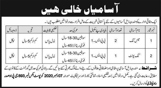 P.O Box 893 Rawalpindi Jobs 2020