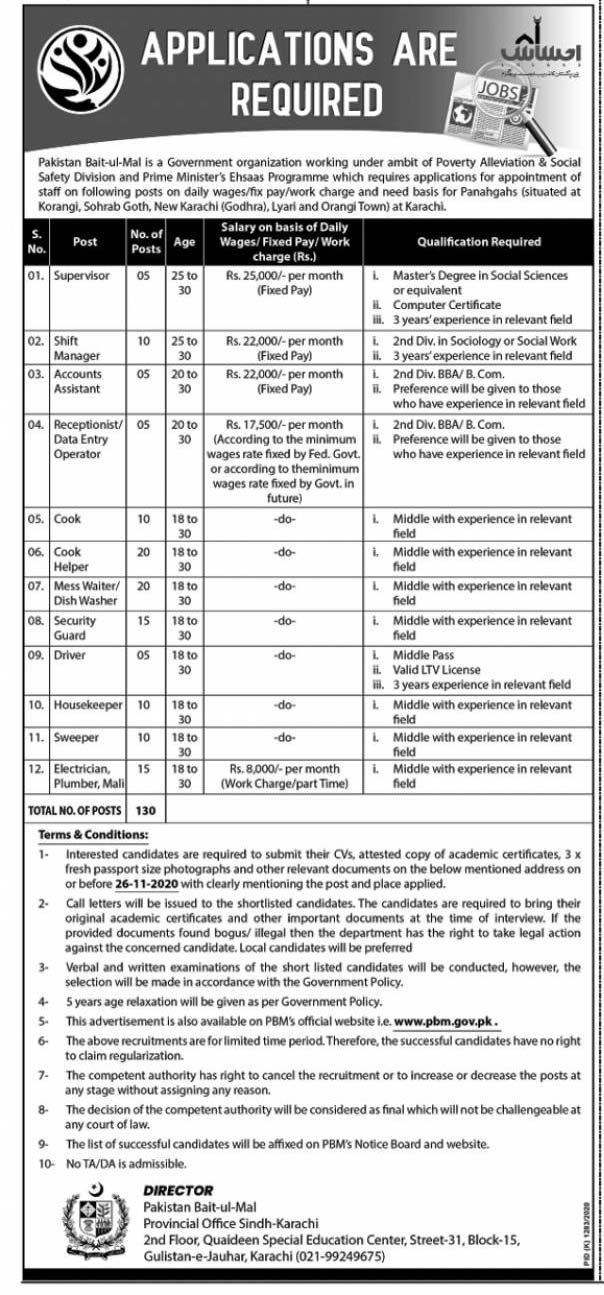 Pakistan Bait-ul-Mal PBM Jobs 2020