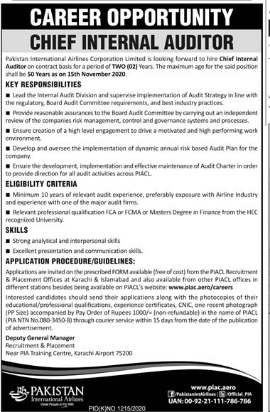 Pakistan International Airlines Jobs 2020