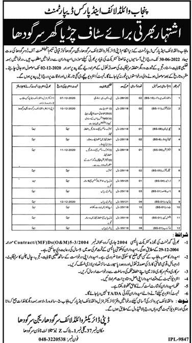 Punjab Wildlife & Parks Department Jobs 2020